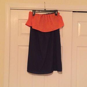 Dresses & Skirts - FINAL MARKDOWN 🛒 Strapless Orange and Navy Dress